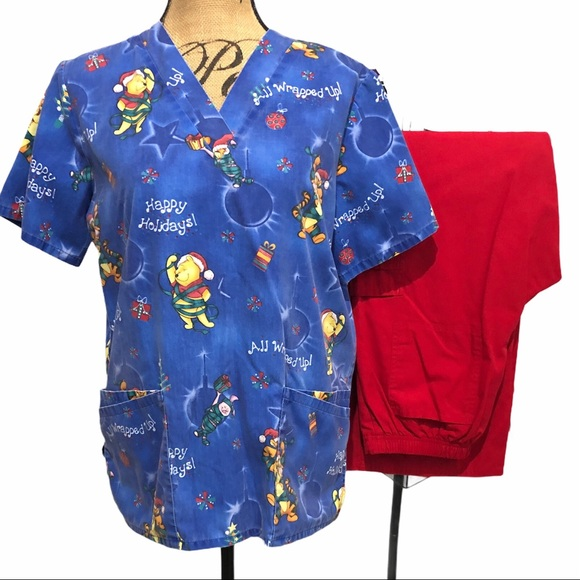 Winnie The Pooh Blue Christmas Scrub Top Red Pants